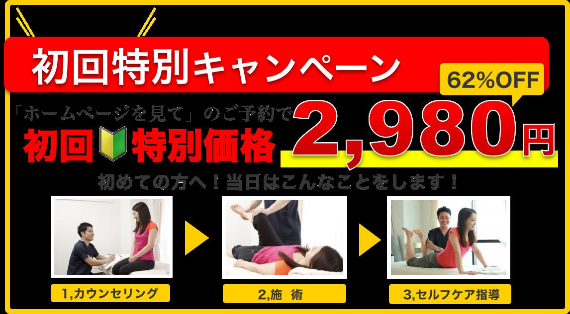 期間限定 初回特別キャンペーン「ホームページを見て」のご予約で初回特別価格 62%OFF 2,980円